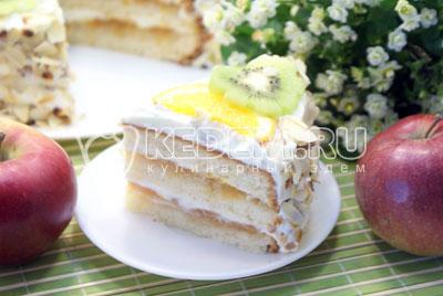 Подавать к столу. Приятного аппетита! - Сливочный торт с абрикосовым джемом. Фото рецепт приготовление торта с абрикосовым джемом и сливками.