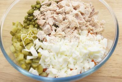 Добавить мелко нарезанное мясо и нашинкованные яичные белки. - Салат с курицей «Праздничное оливье». Фото приготовления праздничного салата Оливье с курицей на новогодний стол.