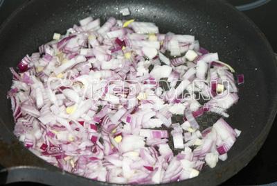 Лук нарезать мелким кубиком и отдельно от курицы обжарить на растительном масле