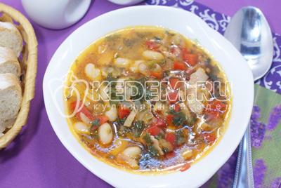 Суп «Минестроне» с фасолью и беконом