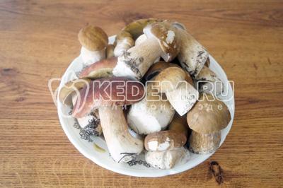 Белые грибы перебрать