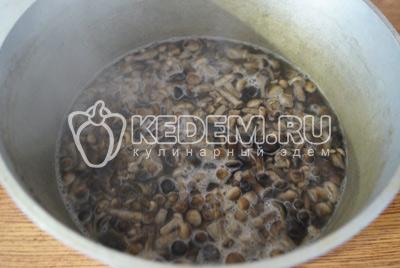 Вскипятить маринад и добавить грибы. Варить грибы в маринаде 5-7 минут. Добавить из расчета на 1 литр маринада 3 ст. ложки 9% уксуса и перемешать.