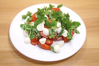 На блюдо выложить половинками нарезанные помидоры и сыр. Петрушку разобрать на листики.