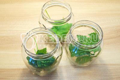 В чистые баночки уложить листья смородины.