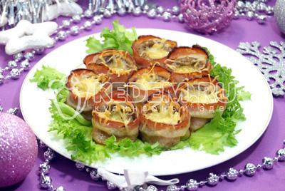 Закуска «Шампиньоны в беконе» - рецепты закусок, пошаговые рецепты с фото