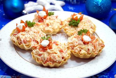 рецепт тарталеток с крабовым салатом