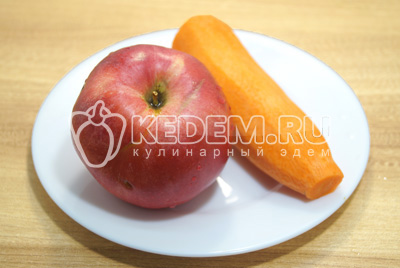 Яблоки морковь очистить.