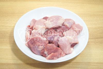 Мясо нарезать кусочками.