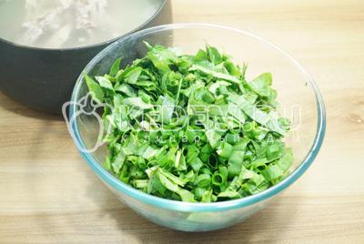 Щавель и  зеленый лук нашинковать и добавить в кастрюлю, огонь выключить и посолить суп.