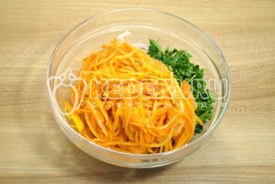 Добавить морковь по-корейски.