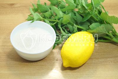 Приготовить лимон, сахар и промыть свежую мяту.
