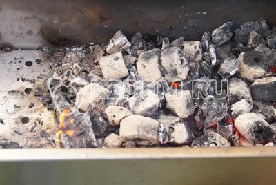 Приготовить угли (отлично подойдет остаточный жар после шашлыков).