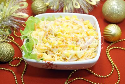Салат с ананасами «Лис»