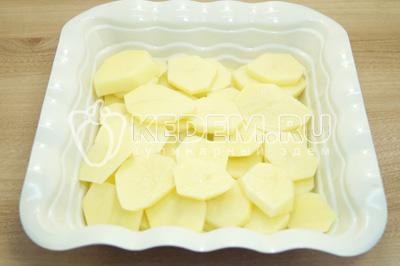 Картофель нарезать кружочками и выложить в форму.