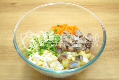 Добавить нашинкованный зеленый лук и кусочками нерезаное филе селедки.