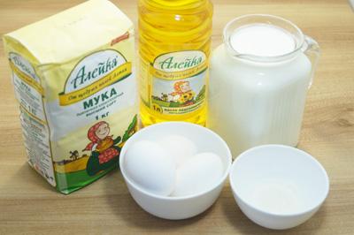 Для блинов нам понадобиться мука ТМ «Алейка» от щедрых полей Алтай, натуральное нерафинированное подсолнечное масло ТМ «Алейка», молоко, яйца, сахар и соль.