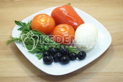 Овощи и зелень промыть и очистить.