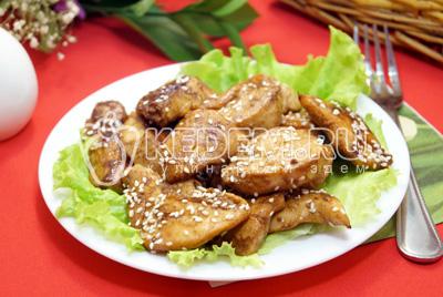 Куриное филе с соевым соусом на сковороде