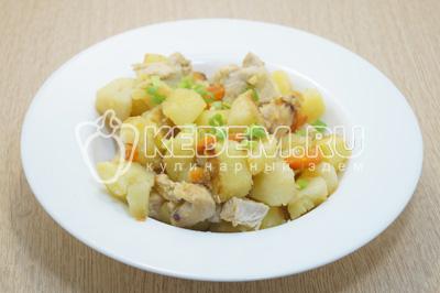 Выложить на тарелки и украсить зеленым луком по вкусу.