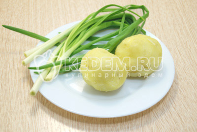 Картофель отварить до готовности, осудить и очистить. Зеленый лук промыть и обсушить.