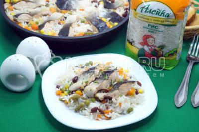 Горбуша с рисом и овощами