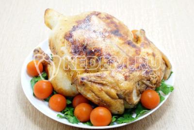 Выложить курицу на блюдо с зеленью и овощами.