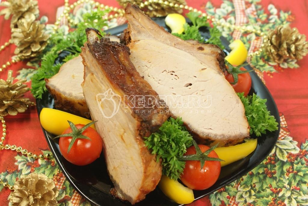 Мясо «Огонёк». Кулинарный новогодний фото рецепт приготовления мяса на ребрышках с аджикой к Новогоднему столу.