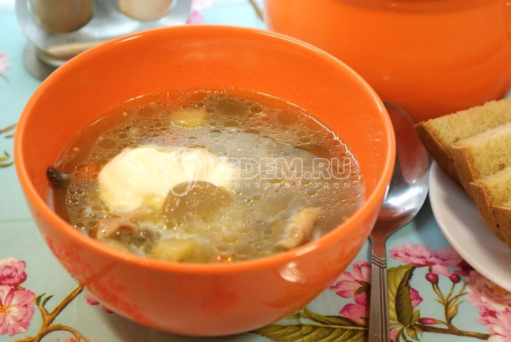 суп с грибами шампиньонами рецепт на мясном