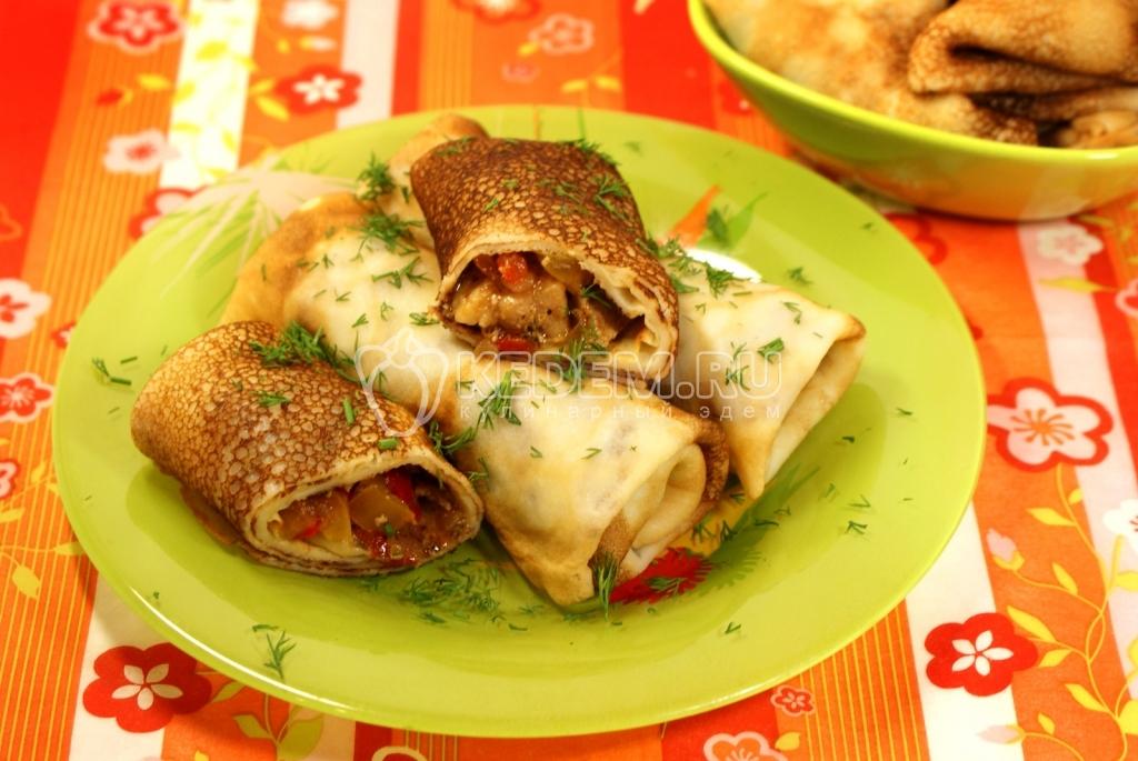 Блинчики «Болгары». Кулинарный фото рецепт приготовления блинов с мясом и перцем.