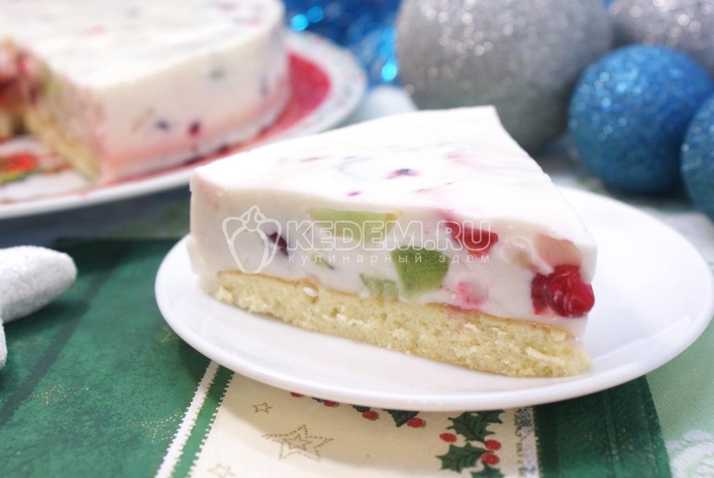Торт «Самоцветы в снегу». Пошаговый кулинарный рецепт с фотографиями приготовление новогоднего торта желе с фруктами в желе на новогодний стол.
