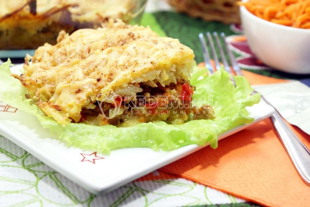 Мясная запеканка с фаршем и картофелем в мультиварке