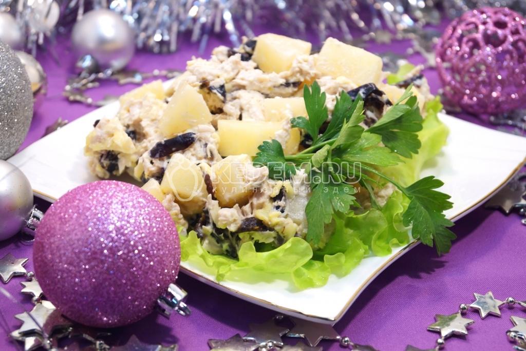 Салаты курица с ананасами на новый 2018 год рецепты с фото