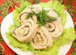Куриный рулет с зеленью и сыром. Кулинарный рецепт приготовления куриного рулета с зеленью и сыром на Новый год.