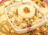 Салат «Новогоднее настроение». Кулинарный фото рецепт приготовления салата с курицей и ананасом на новогодний стол. Фото рецепта