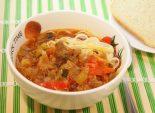 Спагетти с подливой из мяса и овощей. Кулинарный фото рецепт приготовления спагетти с подливой из мяса и овощей. Фото рецепта