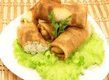 Блинчики с курицей. Кулинарный фото рецепт приготовления блинов с куриным филе и зеленью. Фото рецепта