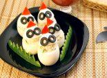 Фаршированные яйца «Привидения». Кулинарный пошаговый рецепт с фото приготовления фаршированных яиц на Хэллоуин.