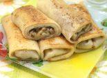 Фаршированные блины с грибами и сыром. Пошаговый кулинарный рецепт с фотографиями  приготовление фаршированных блинов с грибами и сыром. Фото рецепта