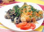 Горбуша с грибами. Пошаговый кулинарный рецепт с фотографиями приготовление горбуши с  грибами и овощами. Фото рецепта