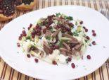 Салат «Узбекистан». Пошаговый кулинарный рецепт с фотографиями приготовление салата с зеленой редькой и гранатом. Фото рецепта