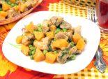 Мясо с тыквой и зеленым горошком. Пошаговый кулинарный рецепт с фотографиями приготовление мяса тушеного с тыквой и зеленым горошком. Фото рецепта