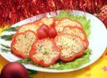 Закуска «С Новом годом». Пошаговый кулинарный рецепт с фото приготовление закуски фаршированного болгарского перца на новогодний стол. Фото рецепта