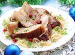 Мясо с квашеной капустой на Рождество. Пошаговый кулинарный рецепт с фото приготовление мяса с квашенной капустой на Рождество. Фото рецепта