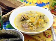 Суп с маринованными огурчиками