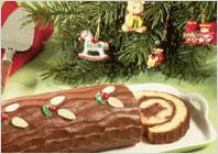Шоколадно-миндальное рождественское полено
