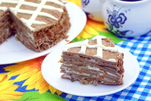 Блинный торт с печенью - рецепт