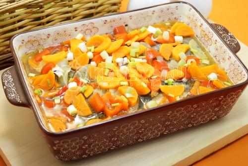Горбуша с овощами в духовке - рецепт