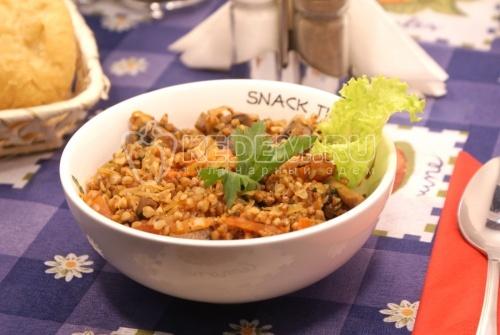 Гречневая каша с грибами и овощами - рецепт