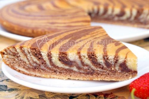 Кекс «Зебра» на сметане - рецепт
