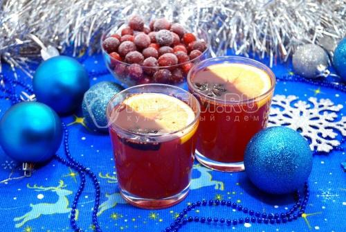 Клюквенный безалкогольный глинтвейн - рецепт